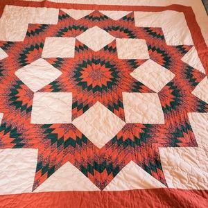 Vtg Broken Star Hand Stitched Quilt 86 x 95